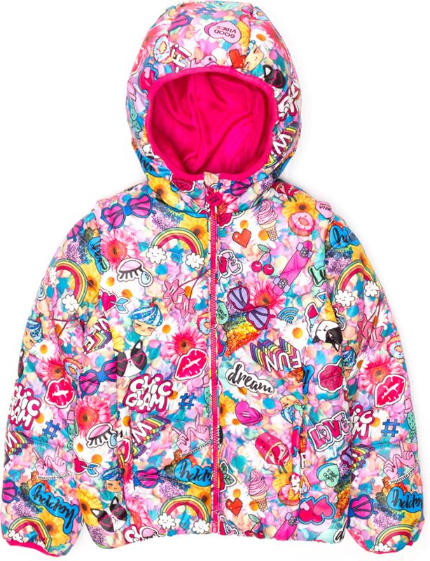 Куртка для девочки Acoola Geo, цвет: мультиколор. 20210130125_8000. Размер 13420210130125_8000Куртка для девочки Acoola Geo выполнена из полиэстера. Модель с капюшоном и длинными рукавами.