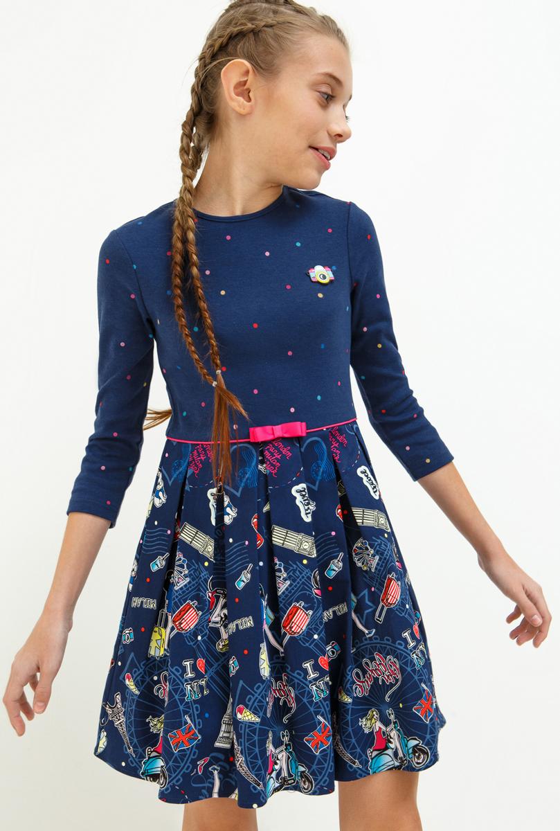 Платье для девочки Acoola Marcona, цвет: темно-синий. 20210200208_600. Размер 14020210200208_600Стильное платье Acoola для девочки позволит создать яркий летний образ для вашей маленькой модницы! Модель с круглым вырезом горловины и длинными рукавами. Платье выполнено из высококачественного материала. В таком платье ваша принцесса будет самая нарядная и модная.