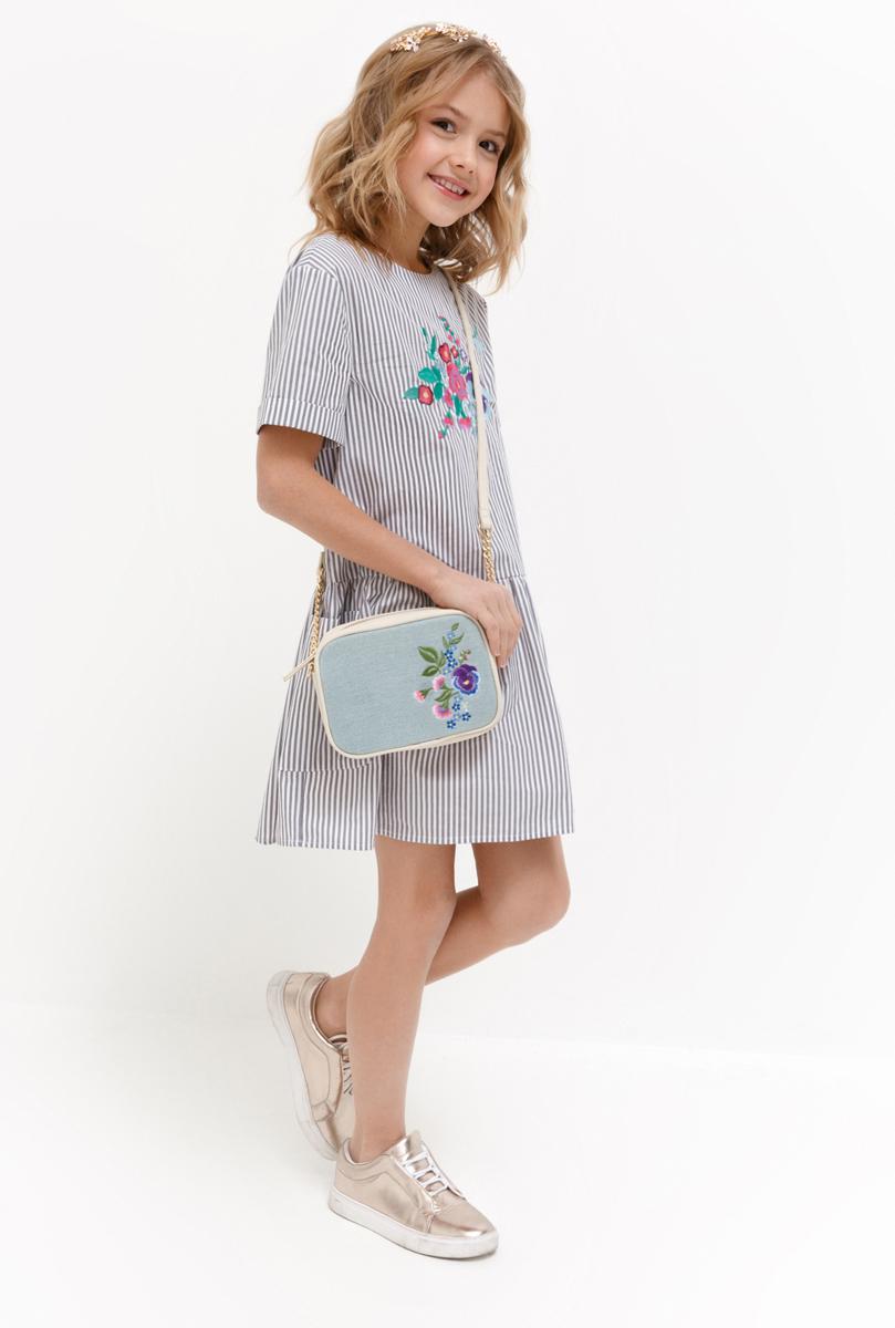 Платье для девочки Acoola Bellona, цвет: светло-серый. 20210200218_1800. Размер 158 джемперы acoola джемпер для девочек в полоску из люрекса цвет ассорти размер 158 20210100174