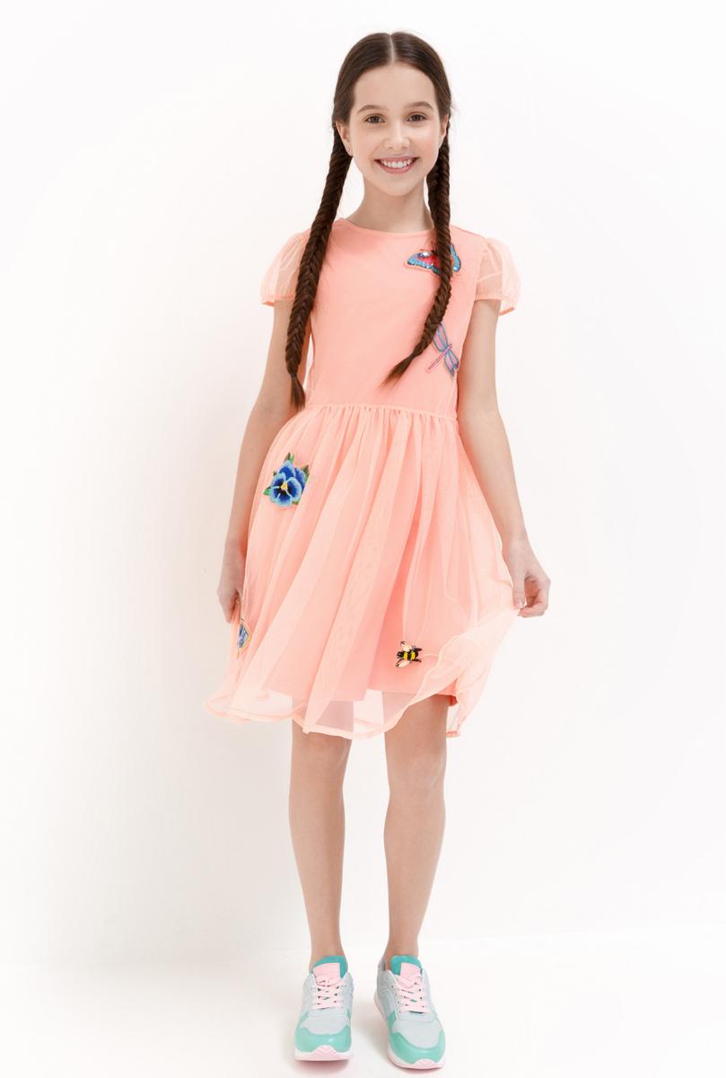 Платье для девочки Acoola Fornax, цвет: светло-коралловый. 20210200222_3000. Размер 14620210200222_3000Стильное платье Acoola для девочки позволит создать яркий летний образ для вашей маленькой модницы! Модель с круглым вырезом горловины и короткими рукавами. Платье выполнено из высококачественного материала. В таком платье ваша принцесса будет самая нарядная и модная.