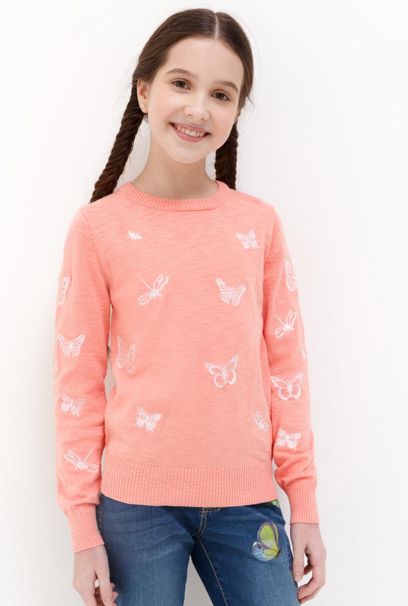 Джемпер для девочки Acoola Biscuit, цвет: коралловый. 20210310065_2900. Размер 13420210310065_2900