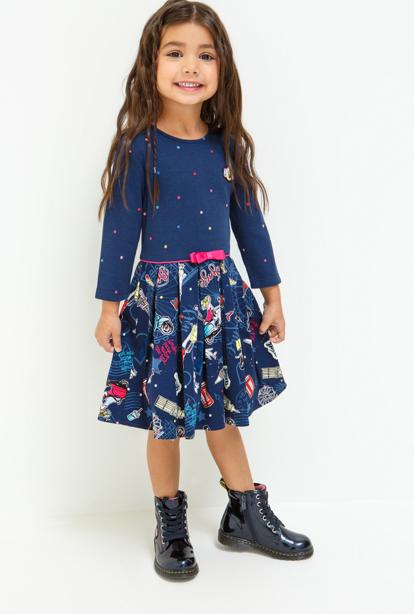 Платье для девочки Acoola Marcona, цвет: темно-синий. 20220200228_600. Размер 9820220200228_600Стильное платье Acoola для девочки позволит создать яркий летний образ для вашей маленькой модницы! Модель с круглым вырезом горловины и длинными рукавами. Платье выполнено из высококачественного материала. В таком платье ваша принцесса будет самая нарядная и модная.
