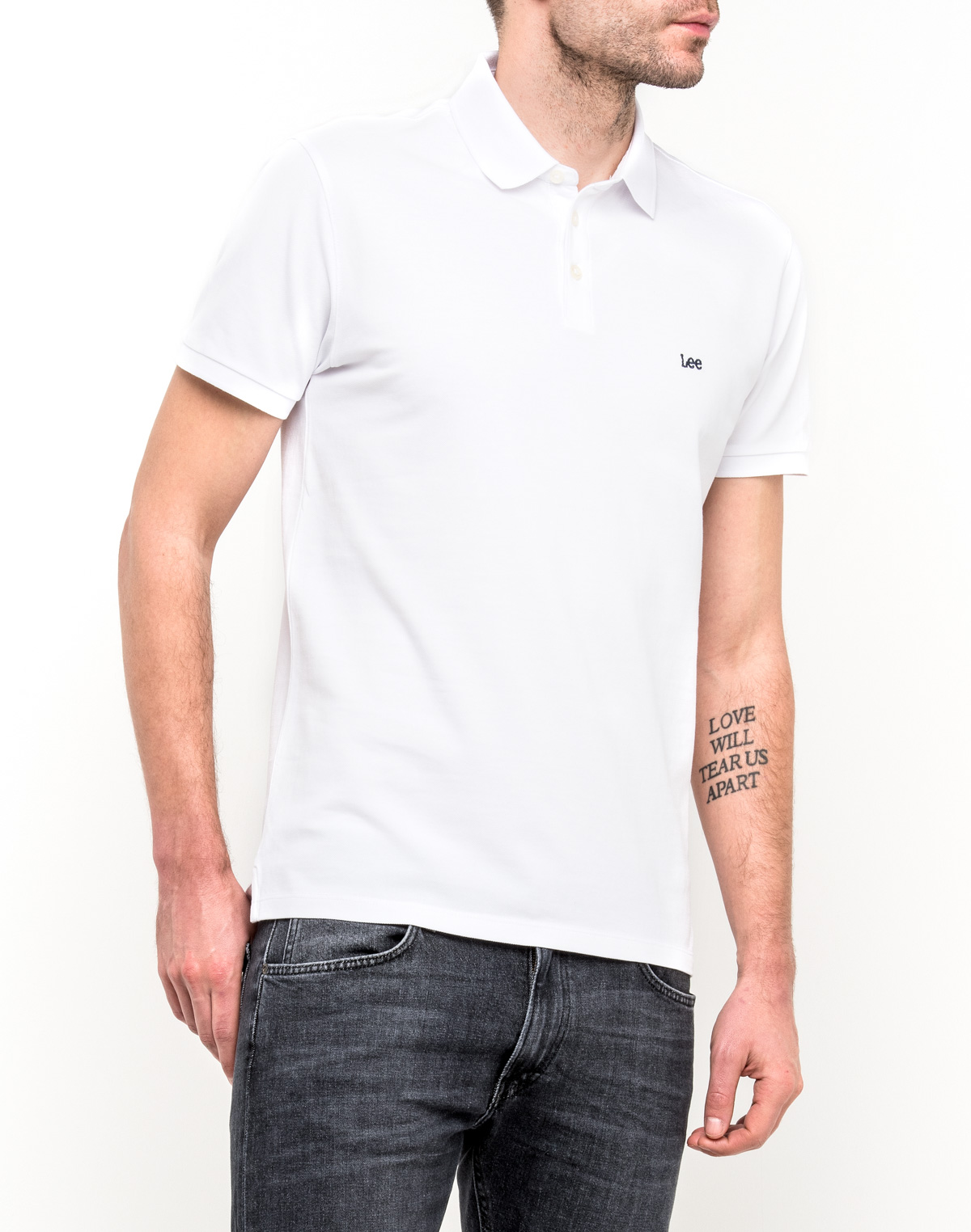 Поло мужское Lee, цвет: белый. L62XRL12. Размер S (46)L62XRL12