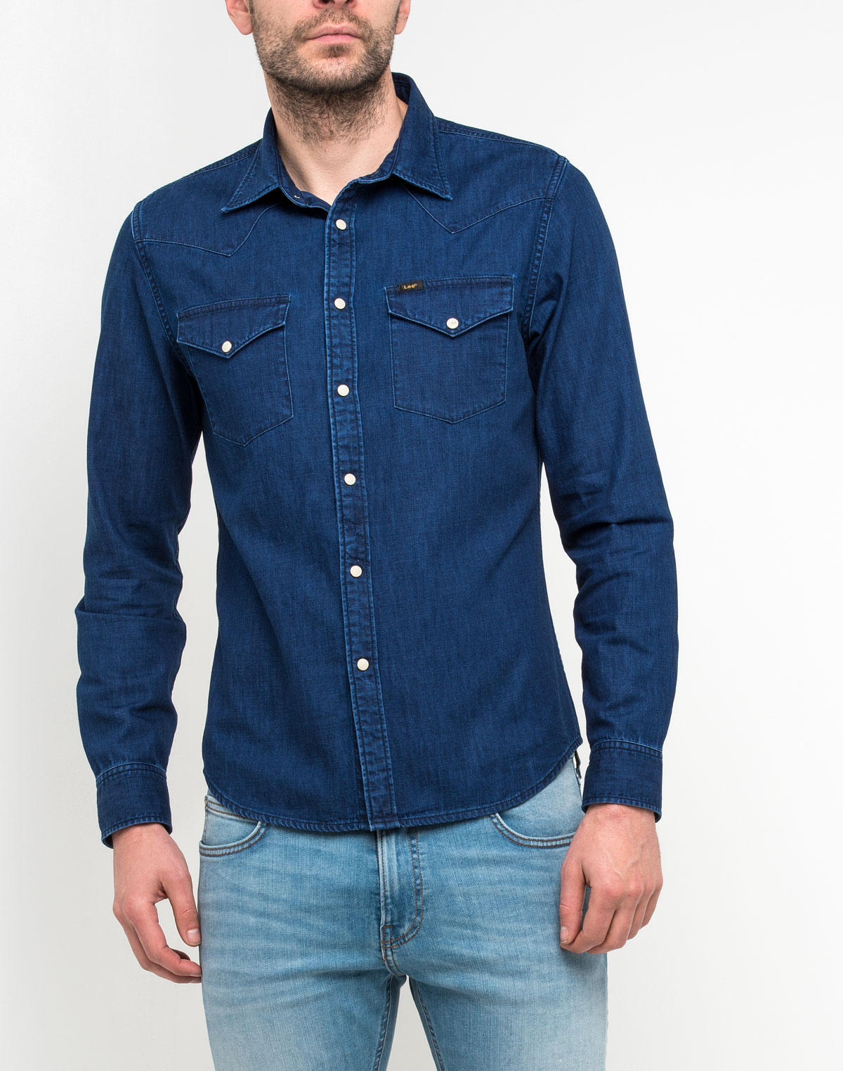Купить Рубашка мужская Lee, цвет: синий. L643RYTL. Размер S (46)