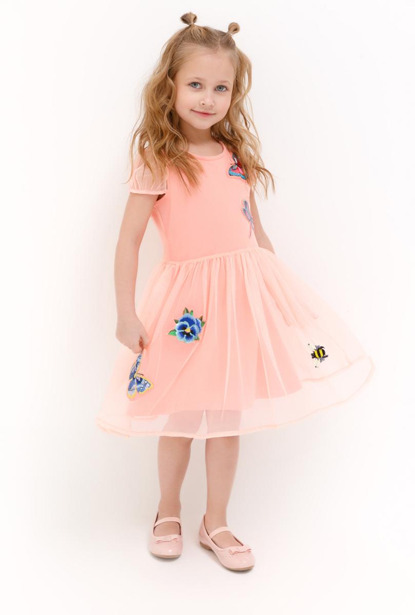 Платье для девочки Acoola Fornax, цвет: светло-коралловый. 20220200247_3000. Размер 9820220200247_3000Стильное платье Acoola для девочки позволит создать яркий летний образ для вашей маленькой модницы! Модель с круглым вырезом горловины и короткими рукавами. Платье выполнено из высококачественного материала. В таком платье ваша принцесса будет самая нарядная и модная.