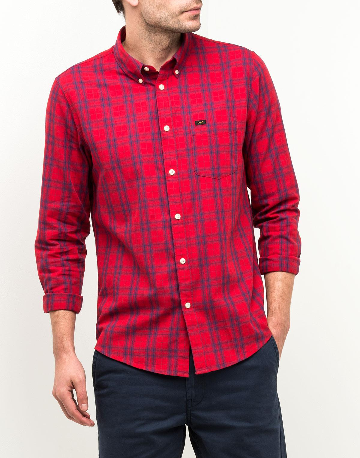 Рубашка мужская Lee, цвет: красный. L880GXEF. Размер L (50)  - купить со скидкой