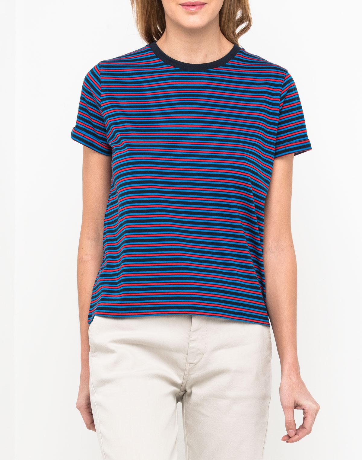Футболка женская Lee, цвет: синий. L41FRUEE. Размер XS (40) футболка в полоску женская