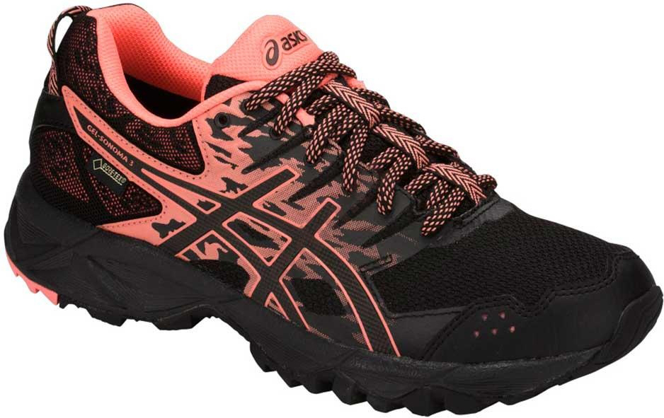 Кроссовки женские Asics Gel-Sonoma 3 G-TX, цвет: черный. T777N-9006. 9H (40)T777N-9006Легкие стабильные кроссовки для бега Asics Gel-Sonoma 3 по грунту созданы для любителей и профессионалов с нейтральной пронацией. Благодаря мембранной ткани верха кроссовок, ноги не промокнут при беге в дождь. Эти чрезвычайно прочные кроссовки, учитывающие все особенности бега по пересеченной местности, обеспечат комфорт, устойчивость и поддержку на протяжении всего маршрута. Кроссовки GEL-Sonoma 3 G-TX предназначены для кросса на короткие и средние расстояния и по любой поверхности. Гелевый амортизатор в задней части подошвы, технология EVA для средней части и светоотражатели 3M обеспечивают надежную защиту, а внешняя поверхность подошвы со стабилизацией для кросса гарантирует стабильность и поддержку на любой поверхности.
