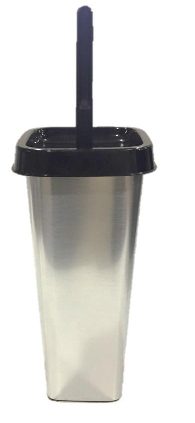Ершик для туалета Svip Квадра, с подставкойSV4111МТЛЗакрытый комплект для туалета Квадра с декором «Металл» предназначен для чистки сантехники в туалетной комнате. Комплект декорирован с помощью вплавляемой IML этикетки, которая сохраняет привлекательный внешний вид даже при активной эксплуатации. Комплект изготовлен из высококачественного безопасного пластика, устойчивого к бытовым химическим моющим средствам. После использования ерш плотно вставляется в глубокий стакан для хранения, обеспечивая изделию гигиеничность и простоту в использовании.