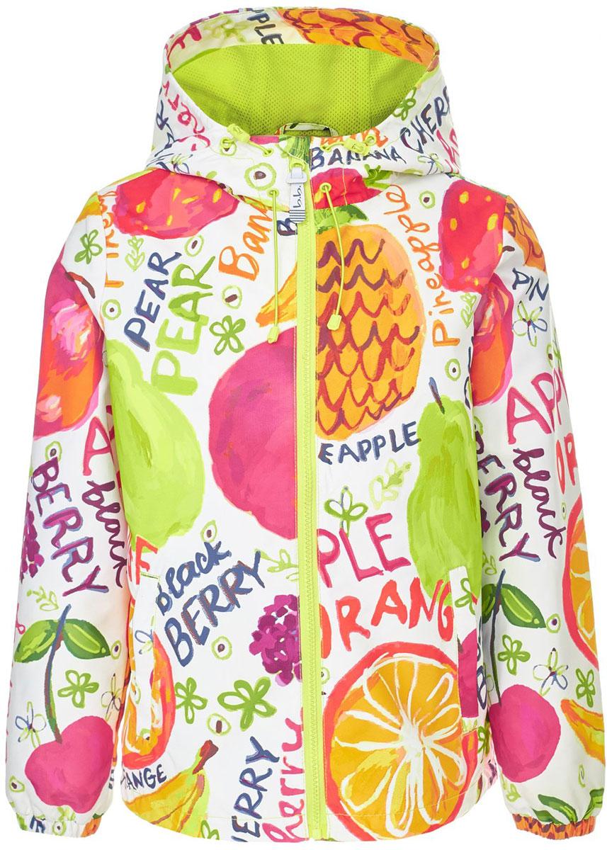 Ветровка для девочки Button Blue, цвет: белый, розовый, зеленый. 118BBGA40010213. Размер 98118BBGA40010213Яркая и позитивная куртка-ветровка от Button Blue всегда поднимет настроение, даже в самый ветреный и дождливый день! Модель с длинными рукавами и капюшоном застегивается на молнию, по бокам дополнена втачными карманами. Куртка может похвастать не только модным дизайном и оригинальным рисунком, она удобная, свободная и дарит своей владелице максимальный комфорт. Отличный вариант для того, кто ищет качественную вещь по выгодной цене.Модель рассчитана на температуру от +15°C до 0°C.