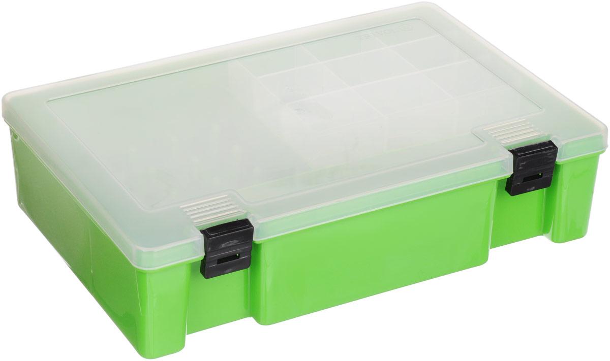 """Коробка для мелочей """"Тривол"""" предназначена для хранения швейных принадлежностей и  мелочей, с патронодержателем для катушек с нитками. Коробка имеет 3 больших отсека и  пластиковую вставку с 9 ячейками.  Размер: 273 х 188 х 65 мм."""