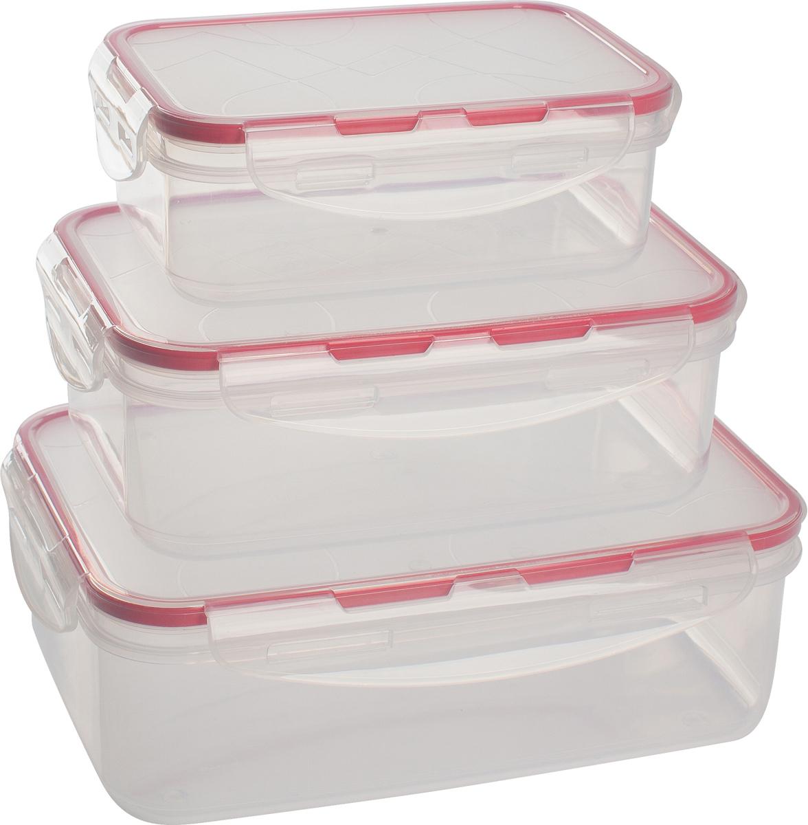 Набор контейнеров для продуктов Giaretti Clipso, прямоугольные, цвет: черри, 0,5 л + 1 л + 1,5 лGR1846ЧЕРИГерметичные контейнеры от Giaretti имеют целый ряд преимуществ: благодаря надежным замкам ваша еда надежно и герметично упакована, ее легко взять с собой без опасения пролить содержимое; контейнер подходит для хранения продуктов в морозильной камере, а также для разогрева в микроволновой печи; благодаря воздухонепроницаемой крышке продукты хранятся дольше; разные литражи и формы контейнеров.Контейнеры вкладываются друг в друга по принципу матрешки экономя пространство при хранении.