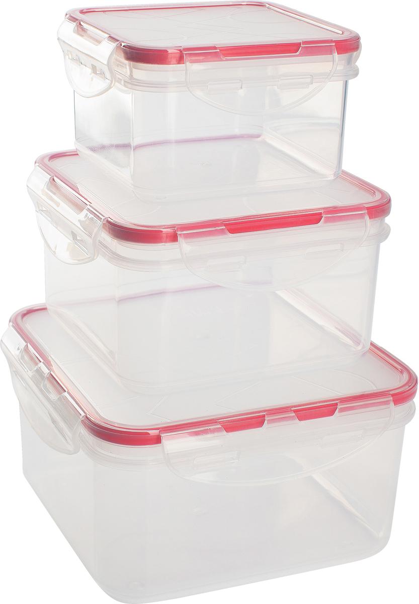 Набор контейнеров для продуктов Giaretti Clipso, квадратные, цвет: черри, 0,4 л + 0,7 л + 1,2 лGR1848ЧЕРИГерметичные контейнеры от Giaretti имеют целый ряд преимуществ: благодаря надежным замкам ваша еда надежно и герметично упакована, ее легко взять с собой без опасения пролить содержимое; контейнер подходит для хранения продуктов в морозильной камере, а также для разогрева в микроволновой печи; благодаря воздухонепроницаемой крышке продукты хранятся дольше; разные литражи и формы контейнеров.Контейнеры вкладываются друг в друга по принципу матрешки экономя пространство при хранении.