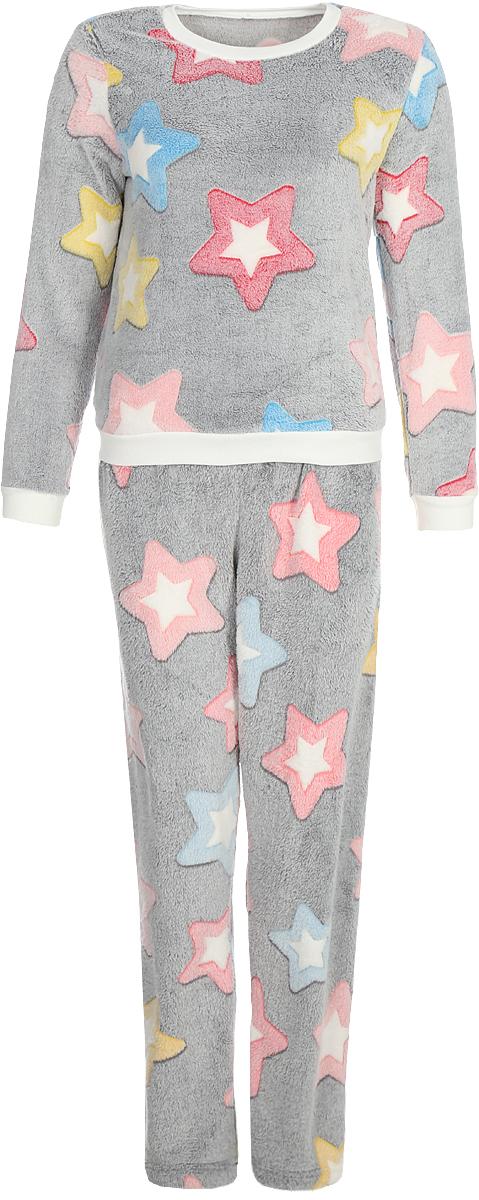 Костюм домашний Коллекция: свитшот, брюки, цвет: серый. ОКСД-2. Размер 52