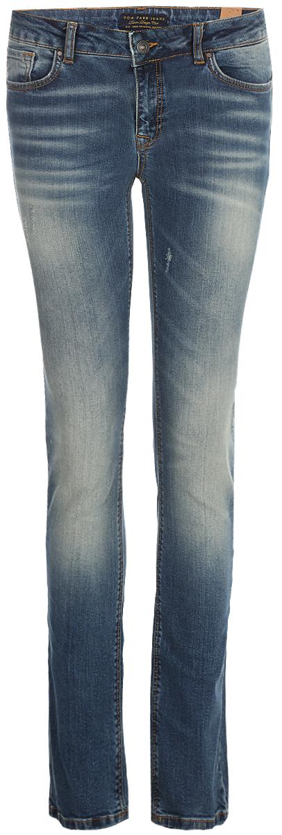Джинсы женские Tom Farr, цвет: синий. TW5642.36709-1-jcoll. Размер 25-32 (40-32)TW5642.36709-1-jcollЖенские джинсы от Tom Farr выполнены из эластичного хлопкового денима. Модель прямого кроя в поясе застегивается на пуговицу и имеет ширинку на молнии, имеются шлевки для ремня. Джинсы имеют классический пятикарманный крой.