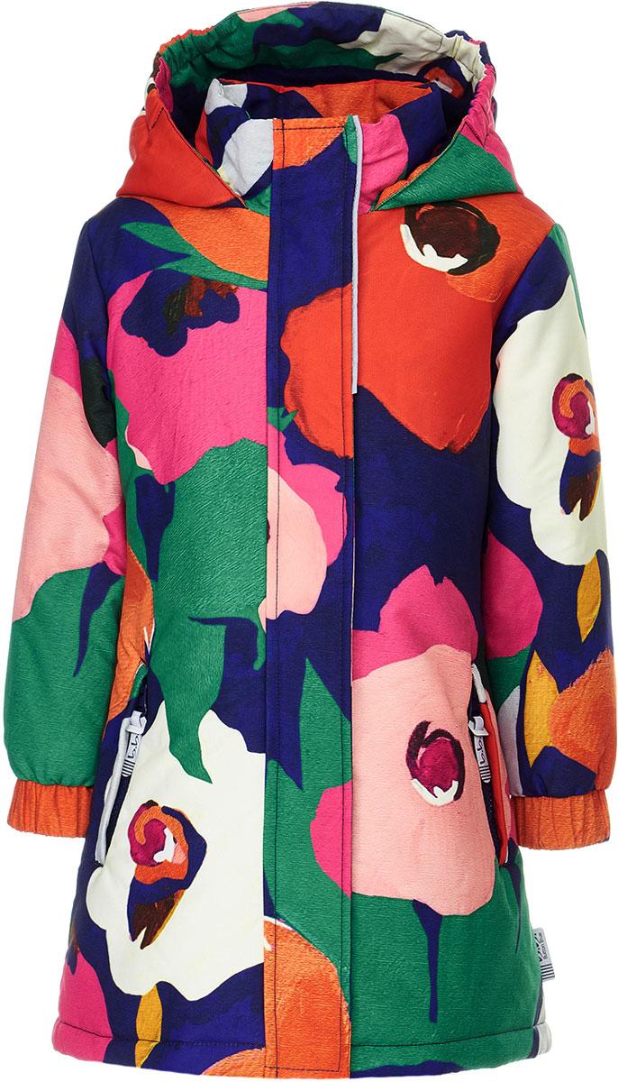 Пальто для девочки Button Blue, цвет: мультиколор. 118BBGA46011013. Размер 128118BBGA46011013Демисезонное пальто от Button Blue из мембранной ткани всегда поднимет настроение, даже в самый серый день. Модель с длинными рукавами и капюшоном застегивается на молнию и имеет ветрозащитный клапан, по бокам дополнена втачными карманами на молниях. В такой одежде несложно выделиться и завоевать восхищенное внимание окружающих. Купить недорого детское полупальто для девочки из коллекции Active от Button Blue, значит подарить ей практичную и модную вещь, отлично подходящую как для повседневного ношения, так и для активного отдыха. Модель рассчитана на температуру от +5°C до -3°C.