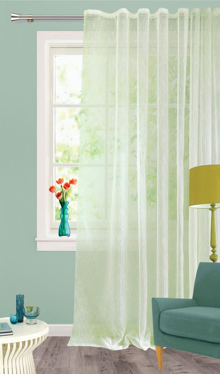 Штора Garden, на ленте, цвет: светло-зеленый, высота 260 см. С 537651 V3С 537651 V3Изящная штора Garden выполнена из органзы светло-зеленого цвета Полупрозрачная ткань, хорошо подойдет для солнечной комнаты. Приятная текстура и цвет штор привлекут к себе внимание и органично впишутся в интерьер помещения. Штора крепится на карниз при помощи ленты, которая поможет красиво и равномерно задрапировать верх.