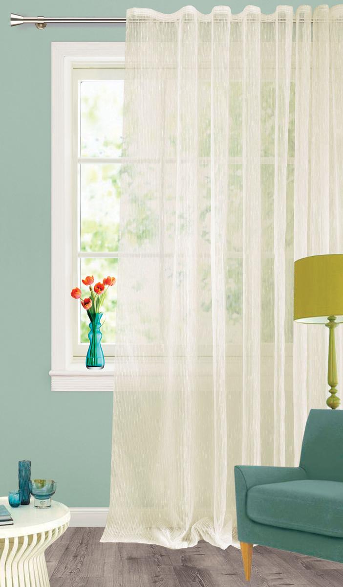 Штора Garden, на ленте, цвет: кремовый, высота 260 см. С 537651 V455670-5Изящная тюлевая штораGarden выполнена из органзы кремового цвета. Она подойдет для яркого и стильного оформления окон и создания особенной уютной атмосферы.Тонкая, прозрачная ткань, хорошо драпируется, оснащена шторной лентой.