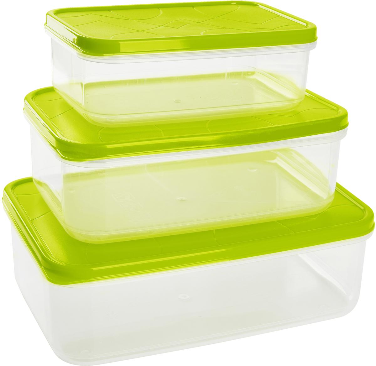 Набор контейнеров для продуктов Giaretti Vitamino, прямоугольные, цвет: оливковый, 3 шт контейнеры из полимеров migura контейнер 0 3 л