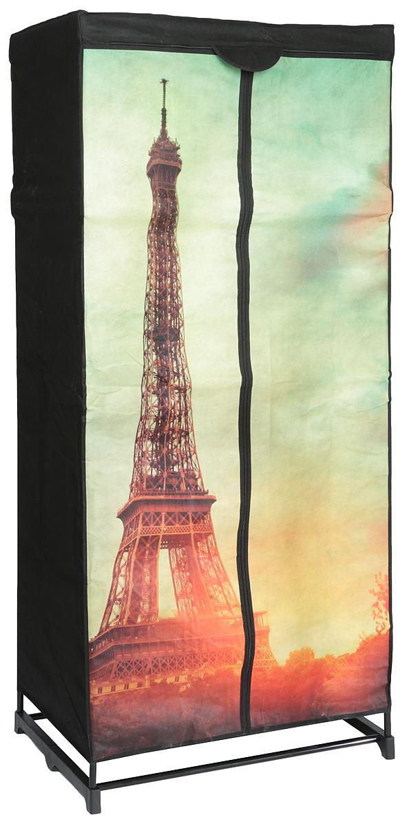 Мобильный шкаф предназначен для хранения одежды, он компактный, легкий, быстро собирается, имеет  консервативную расцветку. Шкаф представляет собой сборный металлический каркас, на который натянут чехол  из нетканого полотна, оформленный изображением Эйфелевой башни. Имеется полка и перекладина для  хранения вещей на вешалках. Закрывается шкаф на молнию. Небольшие ножки устойчивы на любой поверхности,  будь то паркет, линолеум или ковровое покрытие.  Вместительный и компактный шкаф станет незаменимым дома или на даче, красивая расцветка позволит ему  вписаться в любой интерьер. С таким шкафом ваши вещи всегда будут в порядке.  Максимальная нагрузка на полку: 20 кг Максимальная нагрузка на шкаф: 22,8 кг