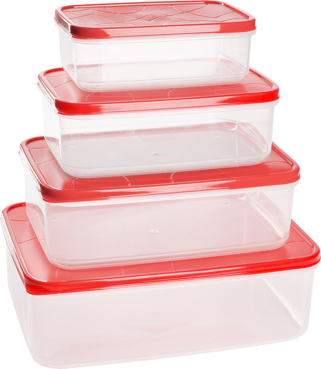Набор контейнеров для продуктов Giaretti Vitamino, цвет: клубничный лед, 4 штGR1857КЛГерметичные контейнеры от Giaretti имеют целый ряд преимуществ:контейнер подходит для хранения продуктов в морозильной камере, а также для разогрева вмикроволновой печи;благодаря воздухонепроницаемой крышке продукты хранятся дольше; разные литражи и формы контейнеров.Контейнеры вкладываются друг в друга по принципу матрешки экономя пространство прихранении.Объем контейнеров: 0,5 л, 1 л, 1,5 л, 2,5 л.