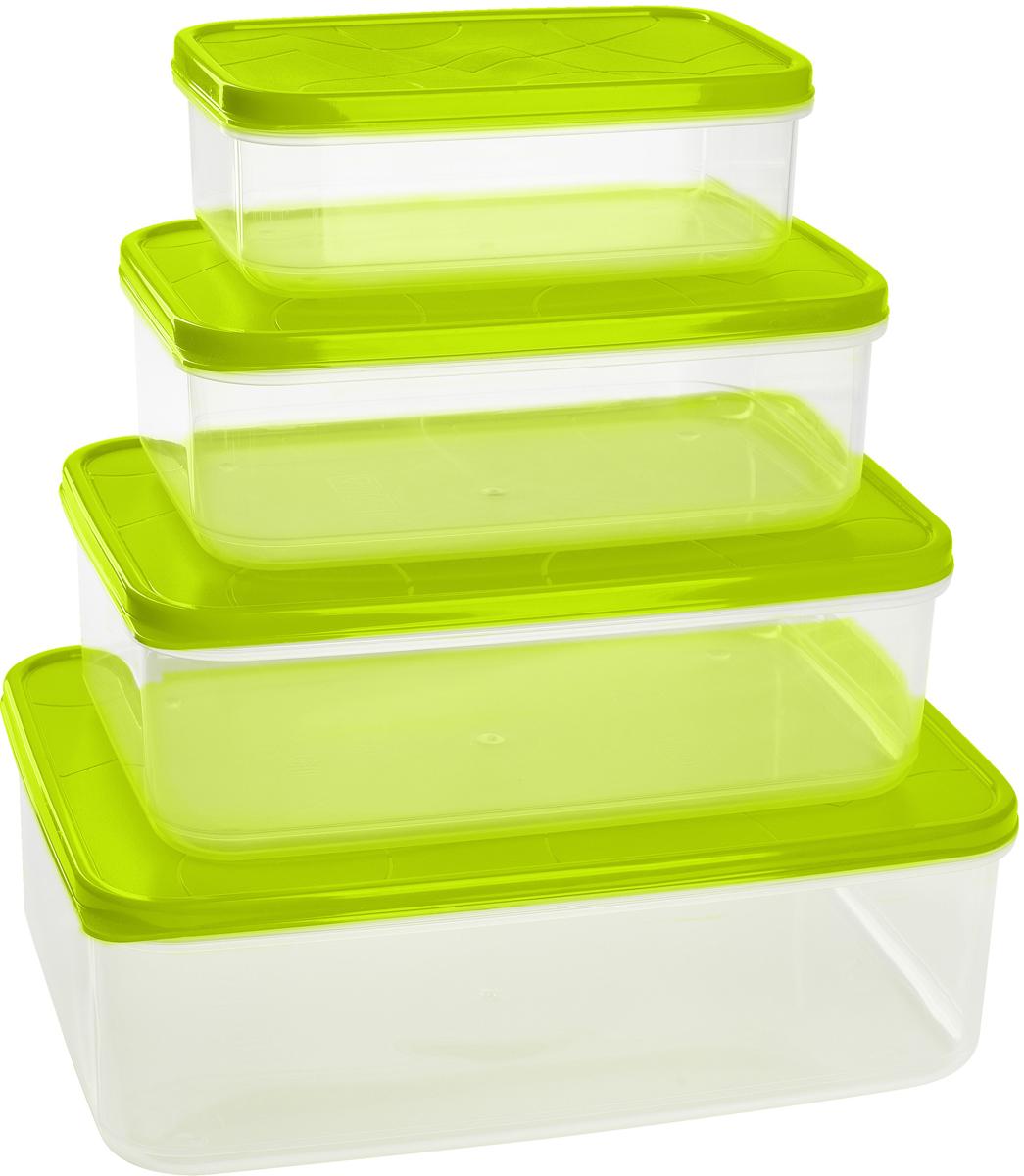 Набор контейнеров для продуктов Giaretti Vitamino, цвет: оливковый, 4 штGR1857ОЛГерметичные контейнеры от Giaretti имеют целый ряд преимуществ:контейнер подходит для хранения продуктов в морозильной камере, а также для разогрева вмикроволновой печи;благодаря воздухонепроницаемой крышке продукты хранятся дольше; разные литражи и формы контейнеров.Контейнеры вкладываются друг в друга по принципу матрешки экономя пространство прихранении.Объем контейнеров: 0,5 л, 1 л, 1,5 л, 2,5 л.