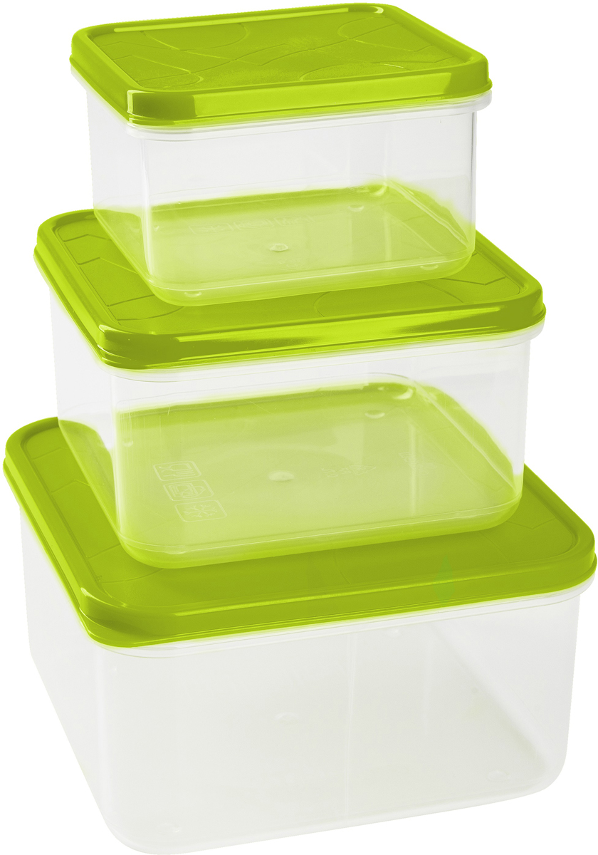 Набор контейнеров для продуктов Giaretti Vitamino, цвет: оливковый, 3 штGR1858ОЛГерметичные контейнеры от Giaretti имеют целый ряд преимуществ:контейнер подходит для хранения продуктов в морозильной камере, а также для разогрева вмикроволновой печи;благодаря воздухонепроницаемой крышке продукты хранятся дольше; разные литражи и формы контейнеров.Контейнеры вкладываются друг в друга по принципу матрешки экономя пространство прихранении.Объем контейнеров: 0,4 л, 0,7 л, 1,2 л.