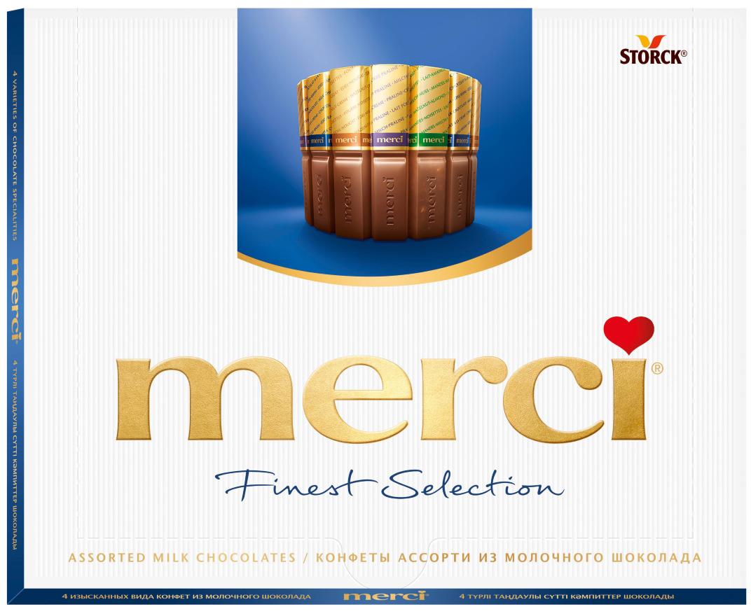 Merci Конфеты молочные Ассорти, 250 г015416Merci Finest Selection- это великолепное ассорти из уникальной коллекцииизысканного шоколада, для производства которого используются ингредиентывысокого качества. Как еще выразить благодарность от всего сердца близкомувам человеку?Уважаемые клиенты! Обращаем ваше внимание на то, что упаковка может иметь несколько видов дизайна. Поставка осуществляется в зависимости от наличия на складе.