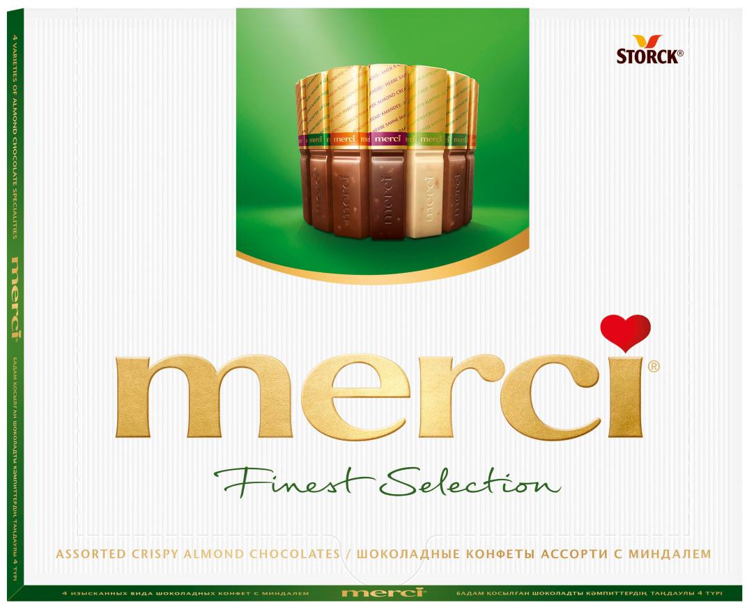 Merci Набор конфет Ассорти из шоколада с миндалем, 250 г auchan шоколад темный с миндалем auchan 200г