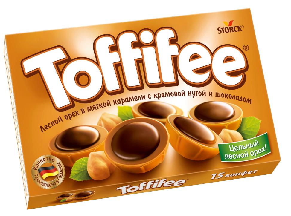 Toffifee Конфеты орешки в карамели, 125 г294903Секрет конфет Toffifee в интересном сочетании вкуснейших ингредиентов: отборный цельный лесной орех в чашечке из мягкой карамели, наполненной нежной кремовой нугой и покрытой восхитительным шоколадом! Toffifee - это невероятно вкусные конфеты, которые понравятся и взрослым, и детям!Уважаемые клиенты! Обращаем ваше внимание, что полный перечень состава продукта представлен на дополнительном изображении.