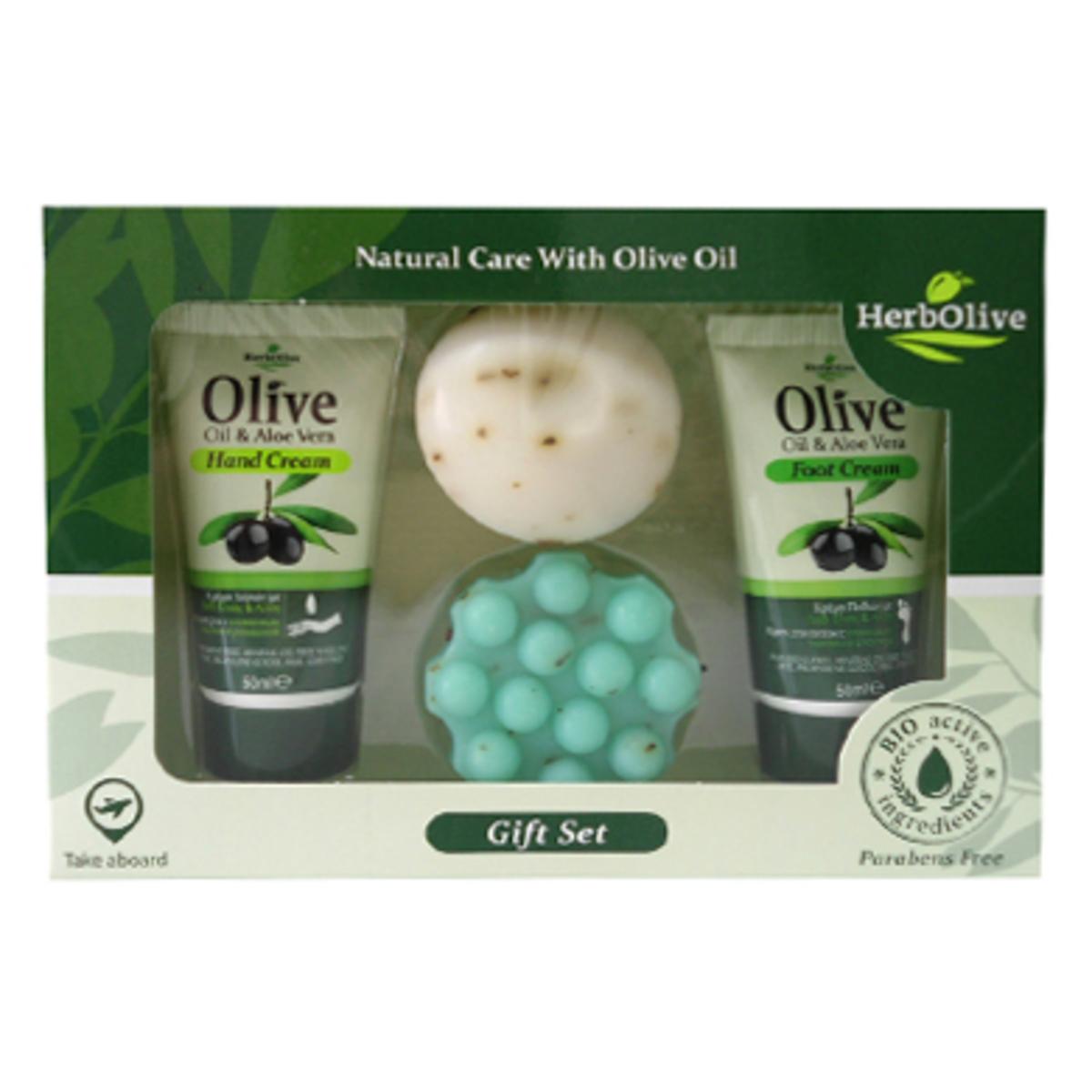 HerbOlive Подарочный набор №35200310401121Подарочные наборы Herbolive сочетают несколько продуктов из разных линий по уходу за кожей.Каждый сет предлагает интересные комбинации на самый взыскательный вкус и дарит вам уникальные продукты созданные критской природой. В набор входит крем для рук с алоэ (50 мл), крем для ног с алоэ (30 мл), мыло с молочным протеином (55 г), мыло с диктамосом (55 г) Товар прошел дерматологический контроль.