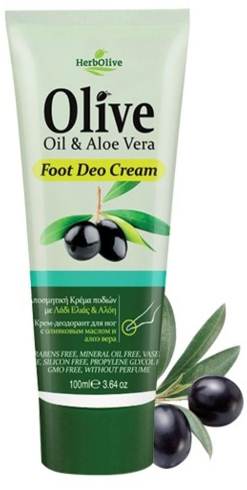 HerbOlive Крем-дезодорант для ног с алоэ-вера 100 мл5200310401329Крем-дезодорант для ног содержит органический экстракт алоэ и масло оливы - эти ингредиенты известны своими питательными, увлажняющими и антиоксидантными свойствами. Крем защищает и ухаживает за кожей ног, придавая ощущение бархатной мягкости. Натуральные компоненты крема обеспечивают увлажнениеног иделают их гладкими имягкими, способствуют восстановлению кожи . Крем быстро впитывается, увлажняет. Предотвращает появление и развитие грибка. Активные ингредиенты: масло оливы, экстракт органического алоэ вера, масло ши,витамин Е и пантенол.