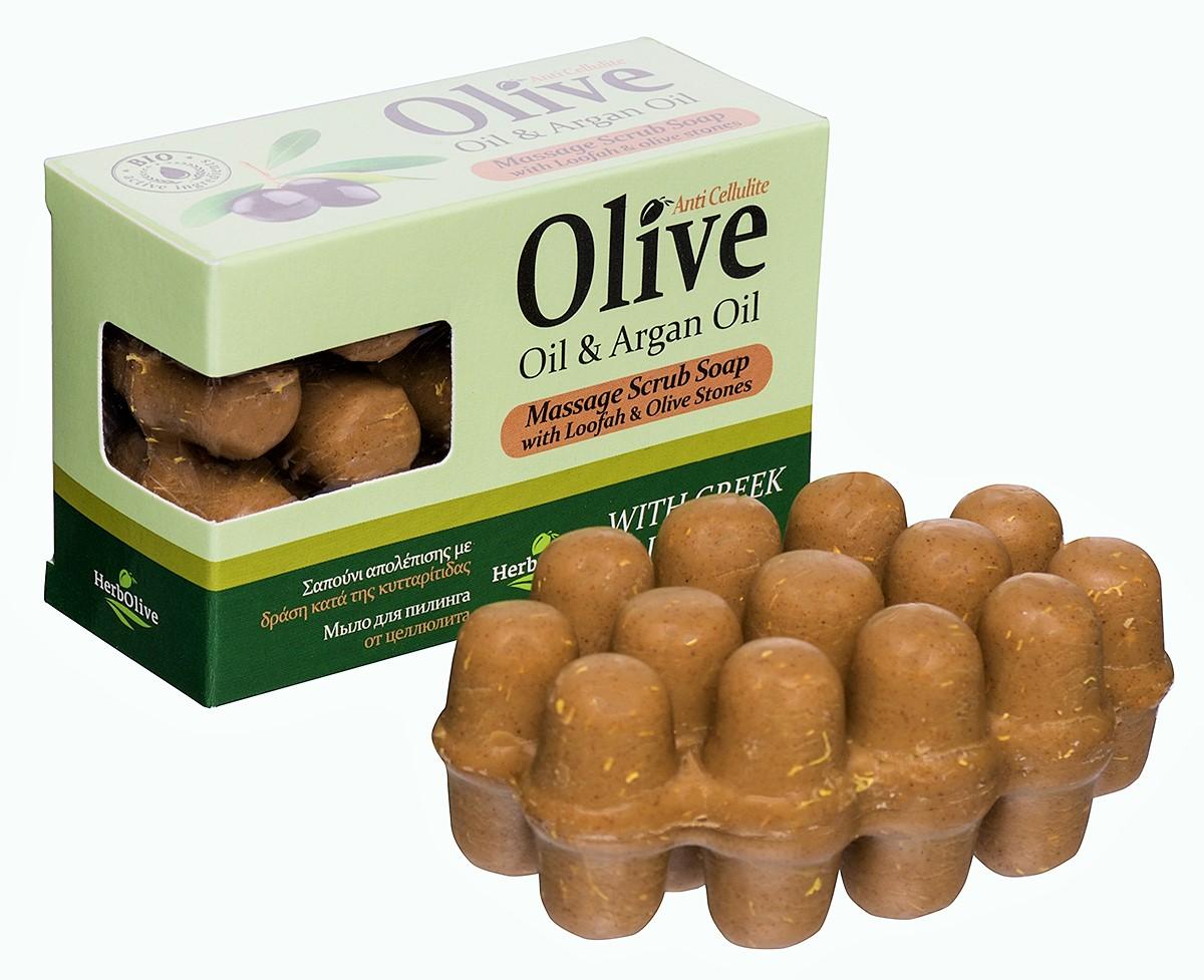 HerbOlive Массажное мыло для пилинга с маслом арганы против целлюлита 100 г5200310402036Массажное мыло для пилинга с маслом арганы против целлюлита содержит натуральные природные антиоксиданты которые увлажняют ипитают кожу. Натуральное оливковое мыло, производится безискусственных красителей ихимических добавок, стимулируют новые клетки крегенерации изамедляет старение. Специальная форма мыла нежно массирует проблемные участки, предотвращает появление и развитие целлюлита.