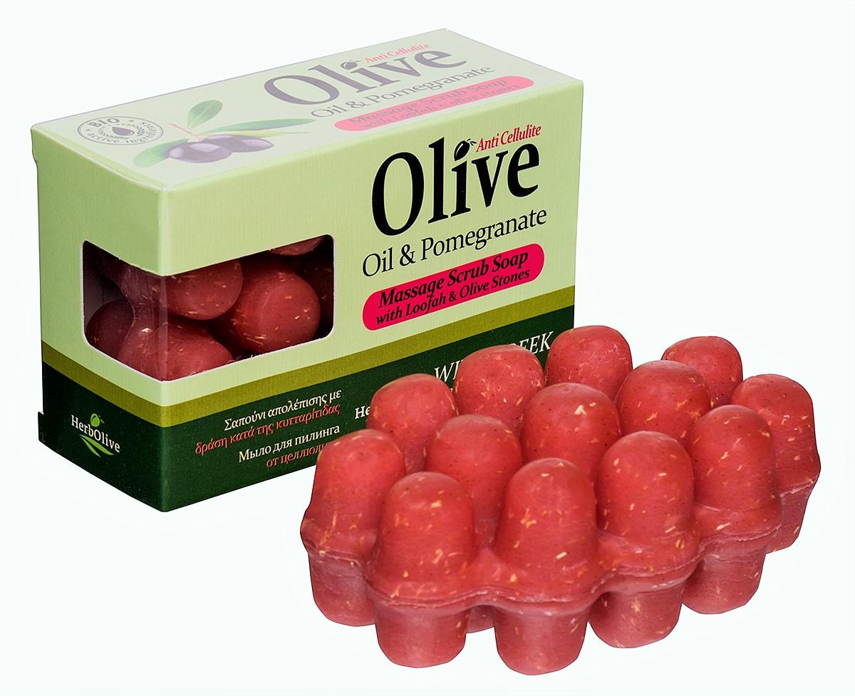 HerbOlive Массажное мыло для пилинга с экстрактом граната против целлюлита 100 г5200310402050Массажное мыло для пилинга с экстрактом граната против целлюлита содержит натуральные природные антиоксиданты которые увлажняют ипитают кожу. Натуральное оливковое мыло, производится безискусственных красителей ихимических добавок, стимулируют новые клетки крегенерации изамедляет старение. Специальная форма мыла нежно массирует проблемные участки, предотвращает появление и развитие целлюлита.