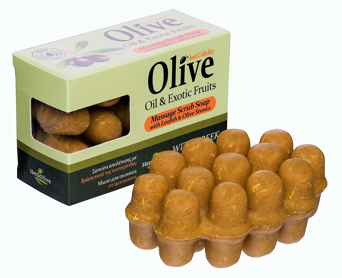 HerbOlive Массажное мыло для пилинга с экзотическими фруктами против целлюлита 100 г5200310402067Массажное мыло для пилинга с экстрактом экзотических фруктов против целлюлита содержит натуральные природные антиоксиданты которые увлажняют ипитают кожу. Натуральное оливковое мыло, производится безискусственных красителей ихимических добавок, стимулируют новые клетки крегенерации изамедляет старение. Специальная форма мыла нежно массирует проблемные участки, предотвращает появление и развитие целлюлита.