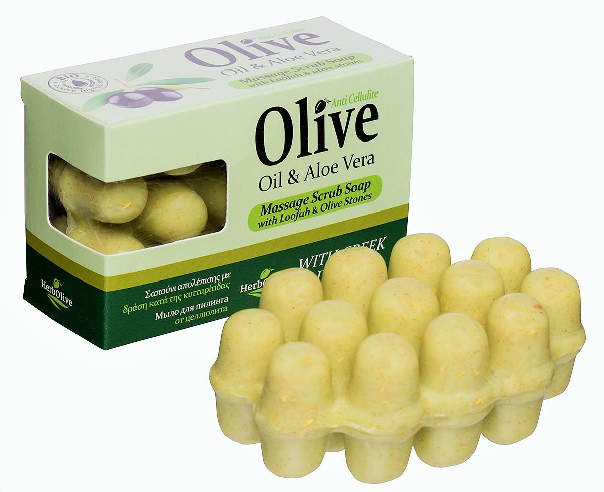 HerbOlive Массажное мыло для пилинга с алоэ-вера против целлюлита 100 г5200310402074Массажное мыло для пилинга с алоэ вера против целлюлита содержит натуральные природные антиоксиданты которые увлажняют ипитают кожу. Натуральное оливковое мыло, производится безискусственных красителей ихимических добавок, стимулируют новые клетки крегенерации изамедляет старение. Специальная форма мыла нежно массирует проблемные участки, предотвращает появление и развитие целлюлита.