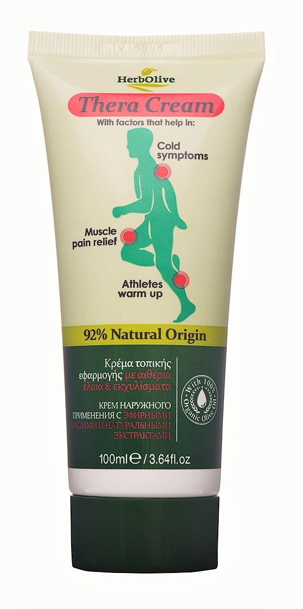 HerbOlive Крем при мышечных болях, простуде с эфирными маслами, 100 мл5200310403293Крем при мышечных болях, ревматизме и простуде для наружного применения с гиалуроновой кислотой, образует гидрофильную пленку на поверхности кожи, разогревая проблемные участки. Комплекс натуральных экстрактов, входящие в состав эфирные масла, ментол, камфора помогают при мышечных болях, симптомах простуды, а также предназначены для разогрева мышц спортсменов. Обогащенный витамином Е, крем быстро впитывается, оставляя приятный согревающий эффект без жирного блеска.