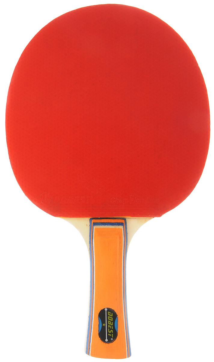 Ракетка для настольного тенниса Dobest 0 звезд, цвет: красный, черный, оранжевый28255705_красный,черный,оранжевыйУниверсальна ракетка Dobest 0 звезд предназначена дляигры в настольный теннис. Прекрасно подойдетлюбителям и начинающим игрокам. Ракетка изготовленаиз прочных качественных материалов, удобно лежит в рукеи гарантирует хорошее чувство мяча и наиболеекомфортную игру. Рукоятка имеет удобную форму. Ракеткавыполнена из дерева, накладка из резины. Толщина резины: 1 мм.Толщина губки: 1,5 мм.Размер ракетки: 26 х 15 х 2,2 см.