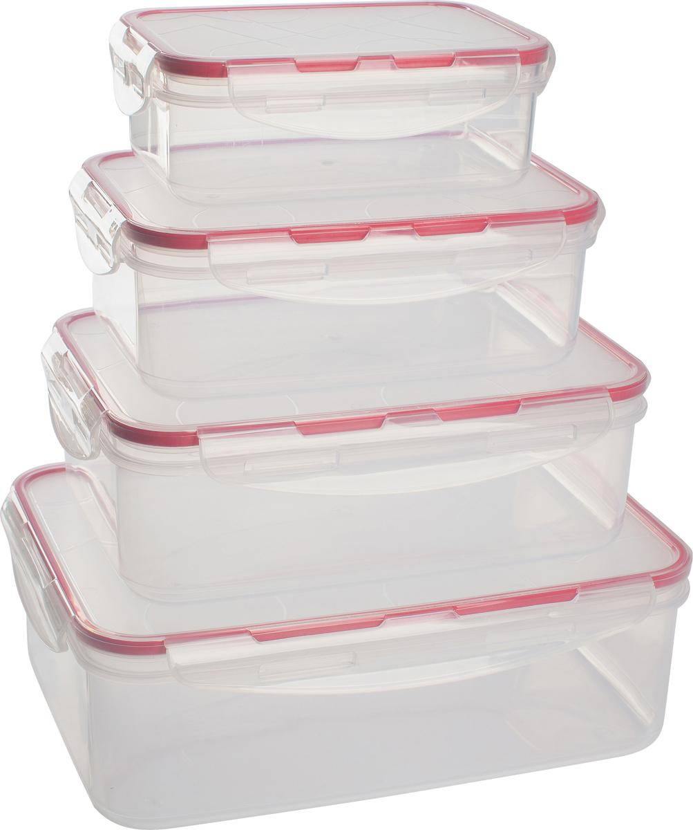 Набор контейнеров для продуктов Giaretti Clipso, прямоугольные, цвет: черри, 0,5 л + 1 л + 1,5 л + 2,5 лGR1847ЧЕРИГерметичные контейнеры от Giaretti имеют целый ряд преимуществ: благодаря надежным замкам ваша еда надежно и герметично упакована, ее легко взять с собой без опасения пролить содержимое; контейнер подходит для хранения продуктов в морозильной камере, а также для разогрева в микроволновой печи; благодаря воздухонепроницаемой крышке продукты хранятся дольше; разные литражи и формы контейнеров.Контейнеры вкладываются друг в друга по принципу матрешки экономя пространство при хранении.
