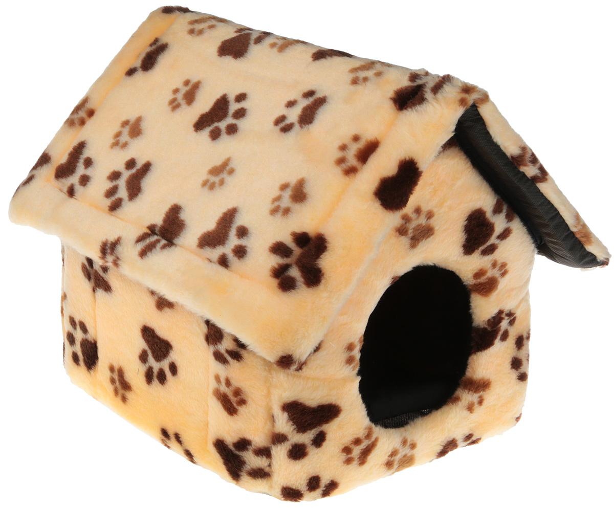 """Домик для животных Elite Valley """"Домик"""", цвет: светло-бежевый, коричневый, черный , 34 х 32 х 35 см. Л-20/1"""