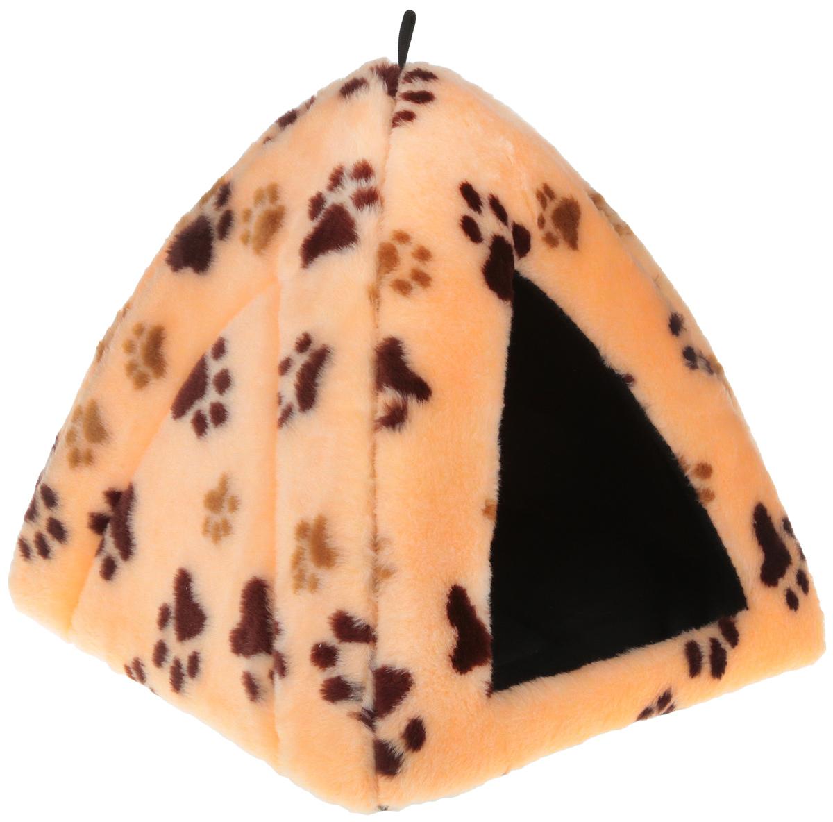 Лежак закрытый Elite Valley Вигвам, цвет: бежевый, коричневый, черный, 40 х 40 х 37 см. Л-22/2 лежак дарэлл хантер лось 2 с подушкой 55 40 16см