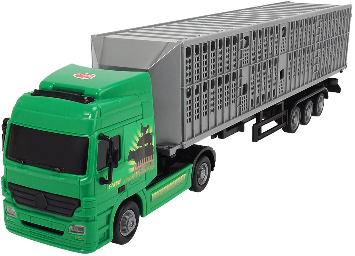 Dickie Toys Трейлер с прицепом цвет зеленый трактор с прицепом св ход 36см dickie