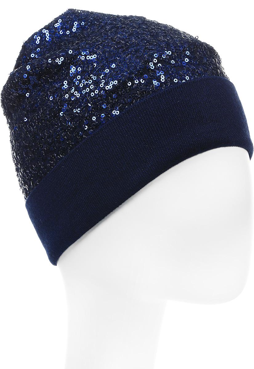 Шапка вязаная женская Stilla, цвет: темно-синий. SH-1770/11. Размер 52/58SH-1770/11Яркая вязаная женская шапка Stilla, изготовленная из пряжи с содержанием шерсти и акрила исключительно мягкая, комфортная и теплая. Мелкая плотная вязка, декорированная пайетками, делает эту модель эффектной и не забываемой. Практичная форма шапки делает ее очень комфортной. Шапка одинарная, без подкладки, с широким отворотом . Шапка Stilla прекрасно дополнит ваш образ с шубой или пальто.