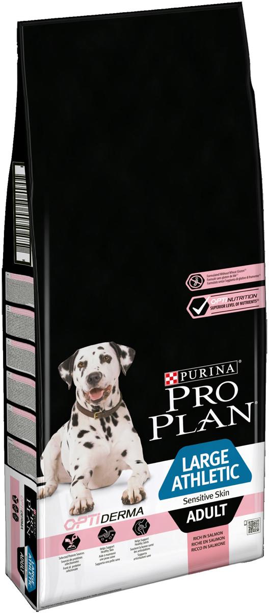 Корм сухой Pro Plan Adult Sensitive, для взрослых собак крупных пород атлетического телосложения с чувствительной кожей, с лососем, 14 кг сухой корм pro plan для взрослых собак крупных пород атлетического телосложения курица рис 14 кг 2 5кг
