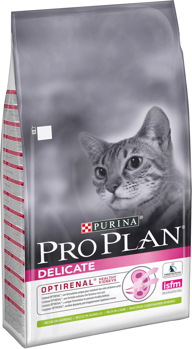 Корм сухой Pro Plan Delicate, для кошек с чувствительным пищеварением и привередливых в еде, с ягненком, 10 кг12322753Для взрослых кошек с чувствительной системой пищеварения или привередливых в еде. Pro Plan Delicate – сбалансированный корм для кошек, который сочетает все основные питательные вещества, включая витамины и минералы.Ягненок (17%), куриная мука, рис, кукурузный глютен, концентрат белка гороха, животный жир, кукуруза, кукурузный крахмал, яичный порошок, минеральные вещества, аминокислоты, рыбий жир, вкусоароматическая кормовая добавка, дрожжи, консерванты, витамины, антиоксиданты.Добавленные вещества (на 1 кг): витамин A 32600 МЕ, витамин D3 1060 МЕ, витамин E 670 МЕ, витамин C 140 МЕ, железо 74 мг, йод 1,9 мг, медь 11 мг, марганец 35 мг, цинк 140 мг, селен 0,12 мг.