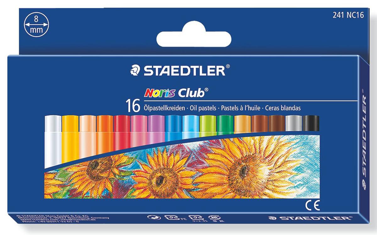 Staedtler Пастель масляная NorisClub 16 цветов241NC1604Набор пастели масляной Noris Club 241 серии подходит для рисования, перекрытия цвета и техники процарапывания. Держится на всех гладких поверхностях. Высокая устойчивость к поломке. Бумажная манжетка с полем для имени. 16 ярких цветов в картонной упаковке. Диаметр 8 мм.
