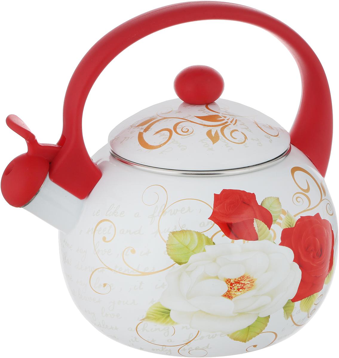 Чайник эмалированный Wellberg, со свистком, цвет: белый, красный, 2,2 л. 3441 WB