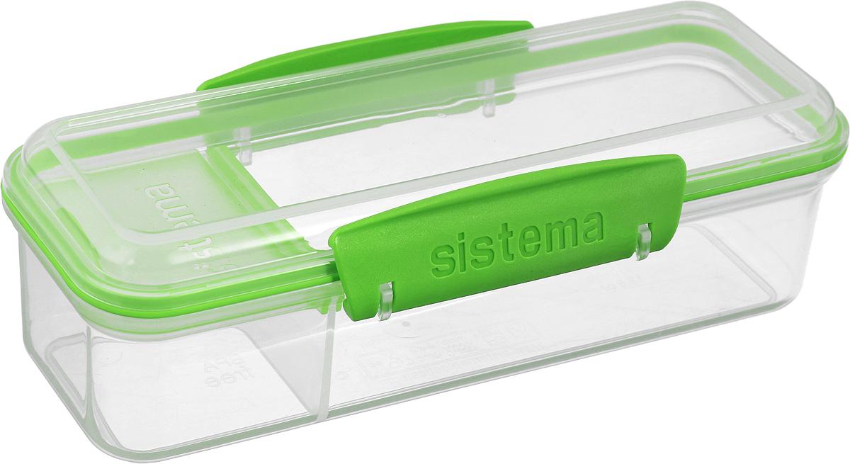 Контейнер пищевой Sistema To-Go, с разделителем, цвет: прозрачный, салатовый, 410 мл21479_прозрачный, салатовыйПревосходное решение для упаковки закусок с собой. Контейнер имеет небольшое внутреннее отделение с крышкой. Удобное раздельное хранение продуктов, которые не хочется смешивать. Сохраняет свежесть продуктов - силиконовый уплотнитель.Плотное закрытие - фирменные защелки Sistema. Легко моется - можно мыть в посудомоечной машине.