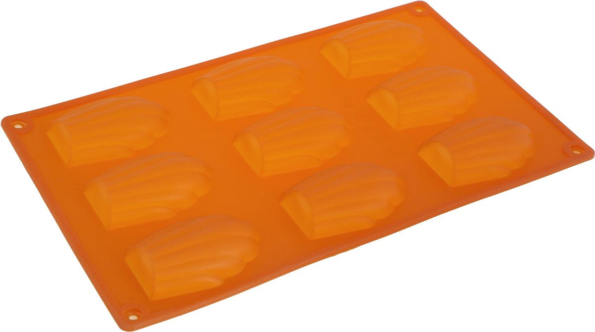 Форма для выпечки Доляна Ракушки, цвет: оранжевый, 29,5 х 17 х 2 см, 9 ячеек1687518_оранжевыйФорма для выпечки Доляна Ракушки - современное решение для практичныхи радушных хозяек. Оригинальный предмет позволяет готовить в духовке любимые блюда, а также вкуснейшую выпечку.Особенности:- блюдо сохраняет нужную форму и легко отделяется от стенок после приготовления;- высокая термостойкость (от -40°С до +250°С) позволяет применять форму в духовых шкафах иморозильных камерах; - небольшая масса делает эксплуатацию предмета простой даже для хрупкой женщины;- силикон пригоден для посудомоечных машин; - высокопрочный материал делает форму долговечным инструментом;- при хранении предмет занимает мало места.Перед первым применением промойте предмет теплой водой. В процессе приготовленияиспользуйте кухонный инструмент из дерева, пластика или силикона. Перед извлечением блюдаиз силиконовой формы дайте ему немного остыть, осторожно отогните края предмета.