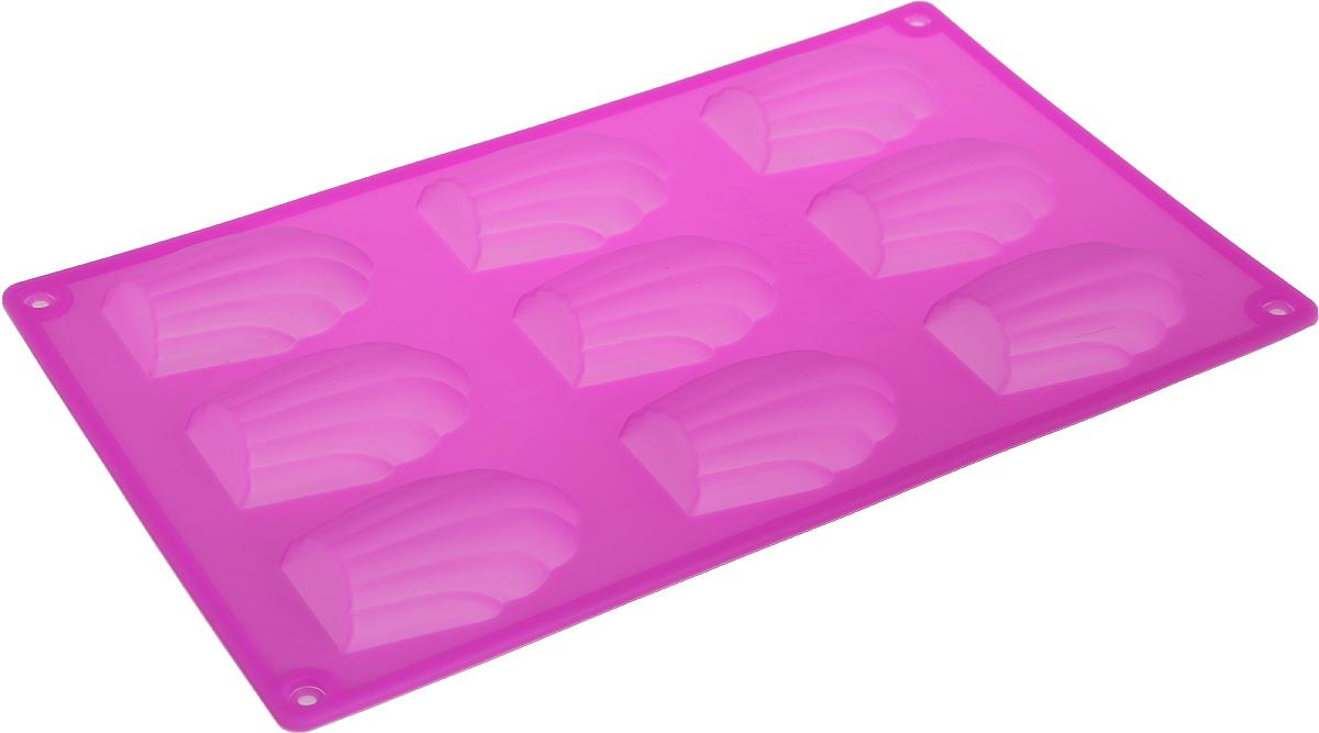 Форма для выпечки Доляна Ракушки, цвет: розовый, 29,5 х 17 х 2 см, 9 ячеек1687518_розовыйГотовьте с удовольствием!Форма для выпечки из силикона - современное решение для практичных и радушных хозяек. Блюдо сохраняет нужную форму и легко отделяется от стенок после приготовления. Форма обладает высокой термостойкостью (от -40 до 230 градусов), что позволяет применять ее в духовых шкафах и морозильных камерах; небольшая масса делает эксплуатацию предмета простой; силикон пригоден для посудомоечных машин; высокопрочный материал делает форму долговечным инструментом; при хранении предмет занимает мало места.